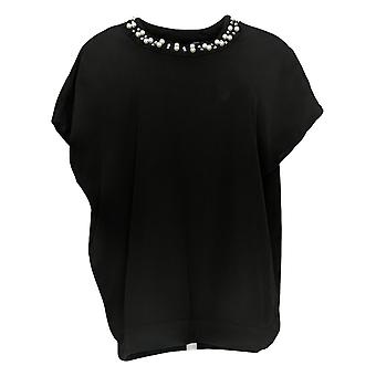 BROOKE SHIELDS Timeless Women's Top Short Sleeve Scoop Neck Black A341966