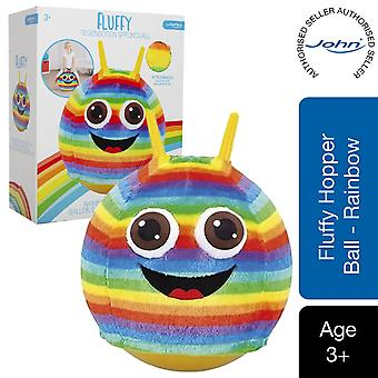 John Hopper Ball met Fluffy Smiley Rainbow Pluche Cover