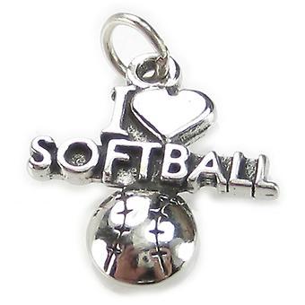 I Love Softball Sterling Silver Charm .925 X 1 Soft Ball Charms - 3729