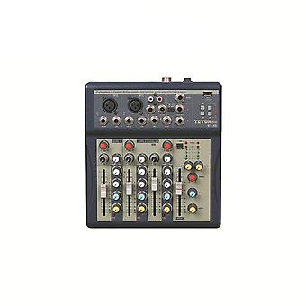 TEYUN KY-4S 4 Channel MP3 USB Audio Mixer Mixing Console with 48V Phantom Power for DJ Karaoke Stage