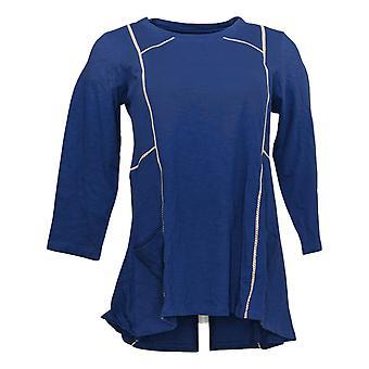 LOGO by Lori Goldstein Women's Top 3/4 Sleeve W/ Pockets Blue A349116