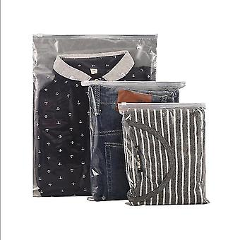 100pcs Pe Transparent Frosted Clothing Zipper Packaging Bag