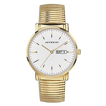 Accurist 7300 Classic White & Gold Stainless Steel Men's Watch