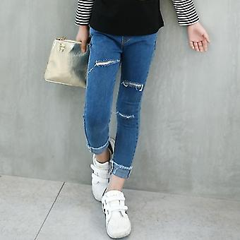 Kids Skinny Jeans Casual Ripped Pants Teenager Denim Trousers