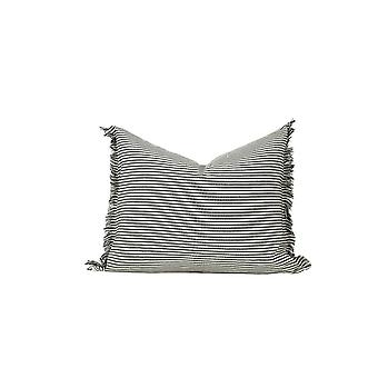 Set of 2 Olive and Ivory Horizontal Stripe Lumbar Accent Pillows