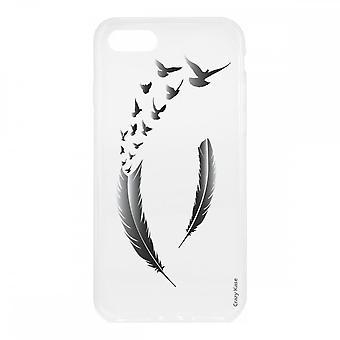 Kuori Iphone Se :lle (2020) pehmeässä silikonissa, höyhenissä ja harmaissa linnuissa