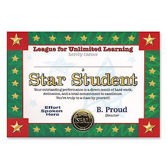 Certificado de estudiante estrella (paquete de 6)