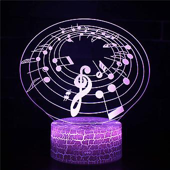 3D Optisk illusionslampa LED Nattljus, 7 färger Touch Sänglampa Sovrum Bord Art Deco Barn Nattljus med USB-kabel Nyhet Julklapp Födelsedag Present-Musik anmärkning # 353