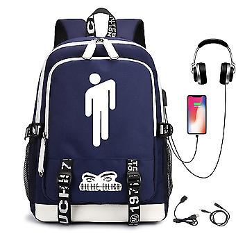 Billie Eilish Modèle USB Rechargeable Backpack Student School Bag Sac à dos extérieur