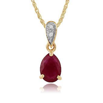 Classic Päärynä Ruby & Diamond riipus kaulakoru 9ct Keltainen Kulta 27048