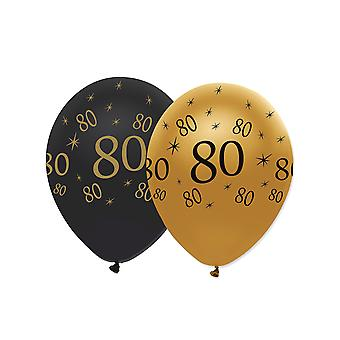 6 Ballons en latex 80 ans noirs et dorés 30 cm