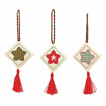 Anchor Counted Cross Stitch Kits: Christmas Decorations: Stars: Green/Red