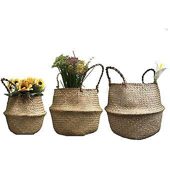FengChun GOODCHANCEUK 3er Set Wschekorb Faltbar Seegras Blumenkorb Handgewebt Blumen Stroh Korb fr