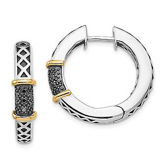 925 Sterling Hopea kiillotettu 14k 1/10ct. Musta timantti sarana vanne korvakorut mitat 25x25mm leveä korut lahjat