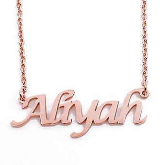 KL Aliyah - 18 karaattinen ruusu kullattu kaulakoru, muokattavissa nimi, säädettävä pituus 16 - 19 cm
