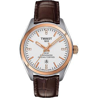 Tissot watch pr 100 chronometer official certified cosc (controle officiel suisse des chronometres)- certified diamonds indexes t1012512603600
