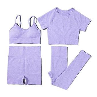 Naiset saumaton jooga sarja lyhythihainen rajat top korkea vyötärö urheilu leggingsit puku pakkaus 4