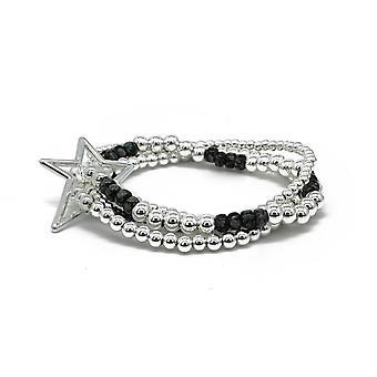 Boho betty slide 4 layered silver & black bracelet stack with star fastener