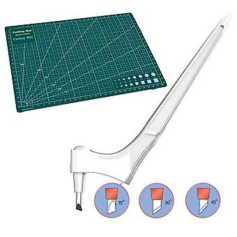 360°ステンレススチール回転刃カッターカッターナイフアクセサリー付き3ヘッドクラフトカッティングキンフェ付きDIYアートカッティングツール