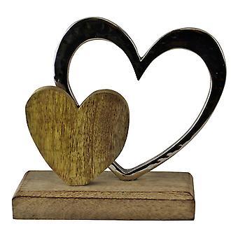Małe podwójne serce na drewnianej ozdobie bazowej
