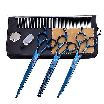 7,0 tuuman sininen 3kpl lemmikkieläinten kömmähtämissakset leikkaavat parturin kaarevat sakset kampaamotyökalut