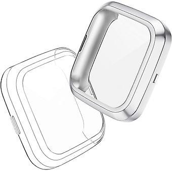 Hülle Kompatibel mit Fitbit Versa 2 Schutzhülle Schutzfolie [2-Stück], Flexibles TPU Vollschutz
