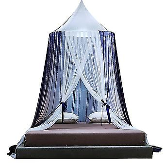 Ny stil gratis perforeret loft myggenet simple dome myggenet (Navy)