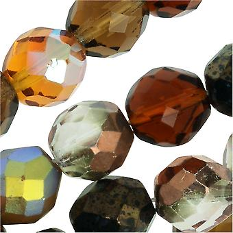 Czech Fire Polished Glass Beads, Faceted Round 10mm, 50 Pieces, Wheatberry Mix