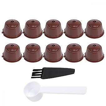 1  Sets Refillable Coffee Capsule Coffee Strainer Cup Set Coffee Filter Compatible For Dolce Gusto (light Brown 10pcs For Package With Spoon And Brush