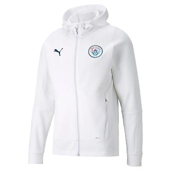 2021-2022 Man City Casuals Hooded Jacket (White)