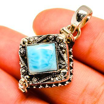 "Poison Larimar Pendant 1"" (925 Sterling Silver)  - Handmade Boho Vintage Jewelry PD9008"