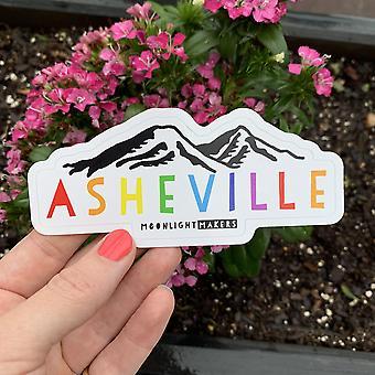 Asheville (rainbow Wording) Nc - Die Cut Vinyl Sticker