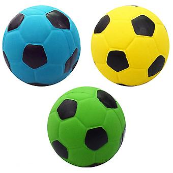 3pcs Sound Football Toy Funny Interactive Football Shape Ball Toy Sound Bouncy Balls (yellow + Blue + Green)