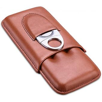 Leather Cigar Case With Cigar Cutter