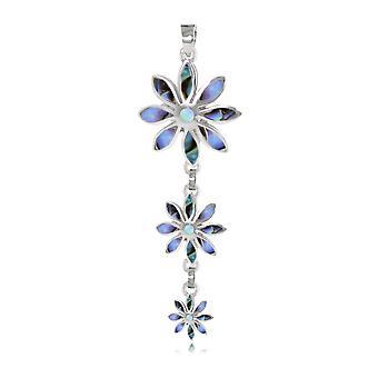 ADEN 925 Sterling Silver Abalone Hanger Ketting 3 bloemen (id 4548)