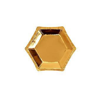 צלחת רדיד זהב משושה - קטנה