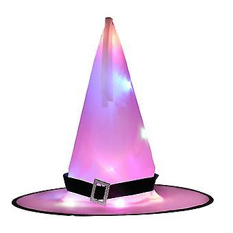 Halloween LED Licht Hexe Hut Glühende Hexen Caps Requisiten Hängende Dekor Hut (Pink)