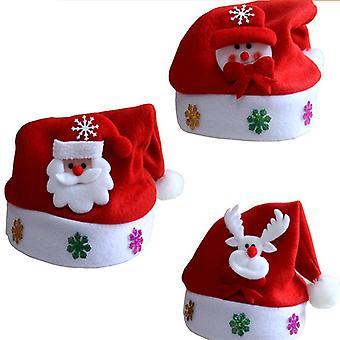Evago 3 Pack Julehatt Rød Santa Snømenn Reinsdyr Til Julefest Myk Komfort Flanell Julebord Kit