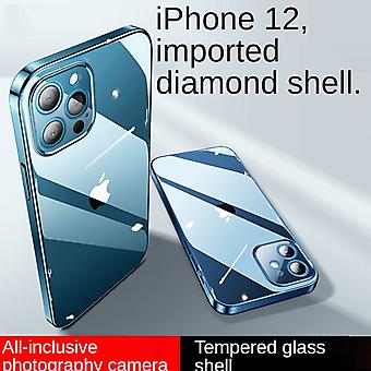 Iphone 12promax (6.7 Inches) Glass Fine Hole Mobile Phone Case Drop Protection Cover Suitable For Transparent Soft