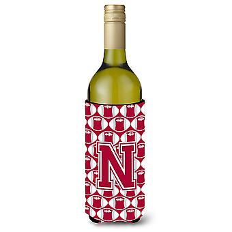 Bokstaven N fotball Crimson, grå og hvit vin flaske drikke isolator Hugger