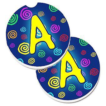 Вензель буквы A - голубые сучки набор 2 Кубка держатель автомобиля подставки