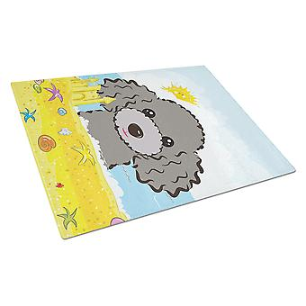 Silver Gray Poodle Summer Beach Glass Cutting Board Large