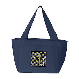 Carolines Treasures  CJ1074-JNA-8808 Letter J Football Blue and Gold Lunch Bag