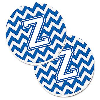Letter Z Chevron Blue and White Set of 2 Cup Holder Car Coasters