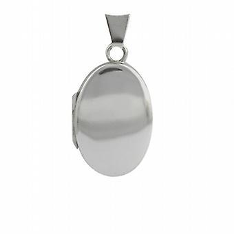 18ct hvidguld 22x15mm oval plain lås