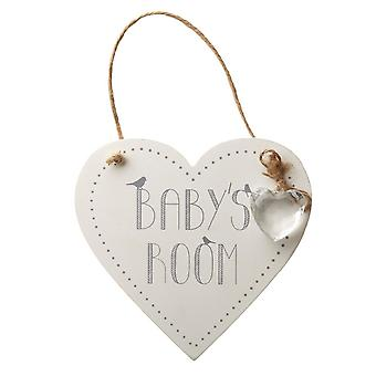 Heart Shaped Babys Room Hanging Wall Sign