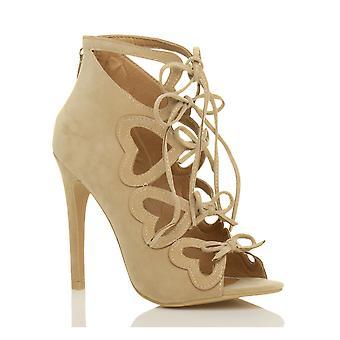 Ajvani Damen high-Heel Herz Bogen Schnürschuh Ghillie Peep Toe Sandaletten Stiefeletten Ausschneiden