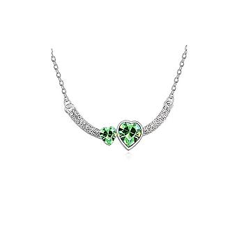 Womens Double Heart Love Green Crystal Pendant Necklace