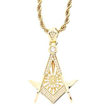 Iced Out Bling Micro Pave Anhänger - FREIMAURER gold