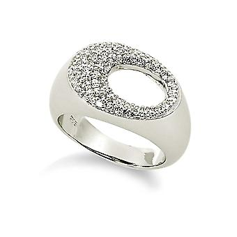 Orphelia Silver 925 Ring Pave Oval Zirconium  ZR-3536